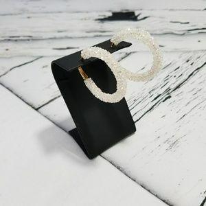 NWT Crushed Crystal Clear Hoop Earrings